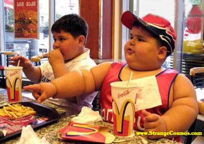 [image] fat kid eating fast food